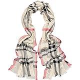 FRAAS womens Xxl sciarpa con motivo a quadri per- dal 100% viscosa - elegante accessorio di moda adatto ad ogni stile di moda Taglia unica crema