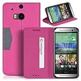 DONZO Tasche Handyhülle Cover Case für das HTC One M8 in Pink Wallet Cross als Etui seitlich aufklappbar im Book-Style mit Kartenfach nutzbar als Geldbörse