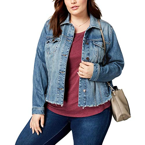 Lucky Brand Womens Plus Spring Distressed Denim Jacket Blue 2X Distressed Denim Jacket