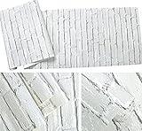 Papel pintado sólido del ladrillo blanco 3D / papel pintado moteado retro / sala de estar,...
