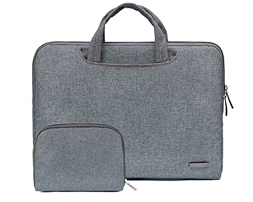 Bohemien Segeltuchstoff Hülle Sleeve Laptop Aktentasche MacBooks Laptops NL Hell Blau 15.6 Inch NL Grau