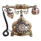 GY Festnetztelefon - Europäisches antikes dekoratives Telefon, stilvoller klassischer Schreibtisch mit drehendem Vorwahlknopftelefon (25X23 X 16CM) /+-+/