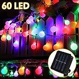 Nasharia Solar Lichterkette LED Lichterkette, 60 Globe LED 10m mit 8 Lichtmodi Lichterkette, Drinnen und Außen Wasserdicht Deko Glühbirne für Garten, Balkon, Party, Hochzeit, Weihnachten (Mehrfarbig)