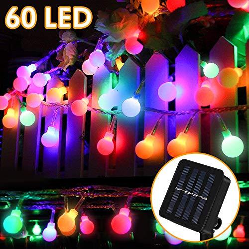 Solar Lichterkette Außen, Nasharia 8 Meter 60er LED Solar Lichterkette mit LED Kugel 8 Modi IP65 Wasserdicht Mehrfarbig Lichterkette mit Lichtsensor Beleuchtung für Garten, Partys, Rasen, Hochzeit