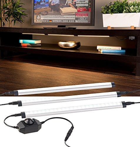 Luminea LED Leiste: 3er-Komplett-Set dimmbare LED-Unterbauleuchte, 720 Lumen, 9 Watt (LED-Unterbauleuchte Küche)