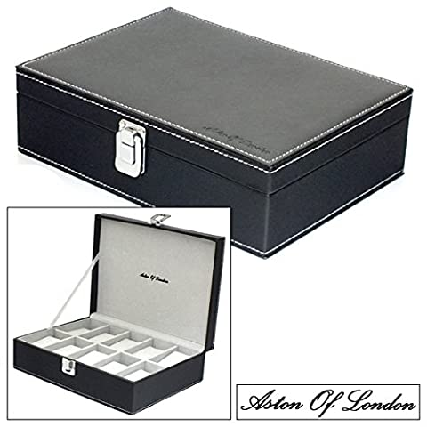 Aston Of London® Gents Black PU Leather 10 Watch Storage Case