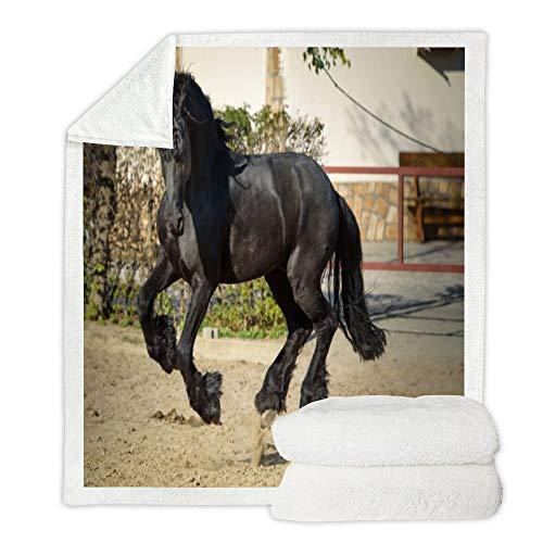 Sofa Decke Un Cavallo Nero Che Salta in Piedi Mehrzweck-Haushalts-Kapuzendecke quadratische Decke Vier Jahreszeiten verfügbar Modetrend Eine Vielzahl von GrößenHigh Definition-Grafiken