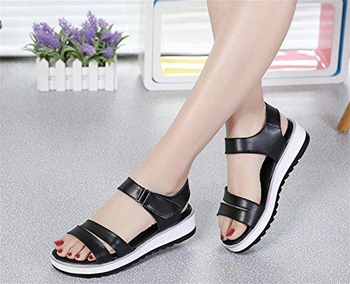 pengweiSandales ladies flat summer wild simple anti-skid casual shoes Black