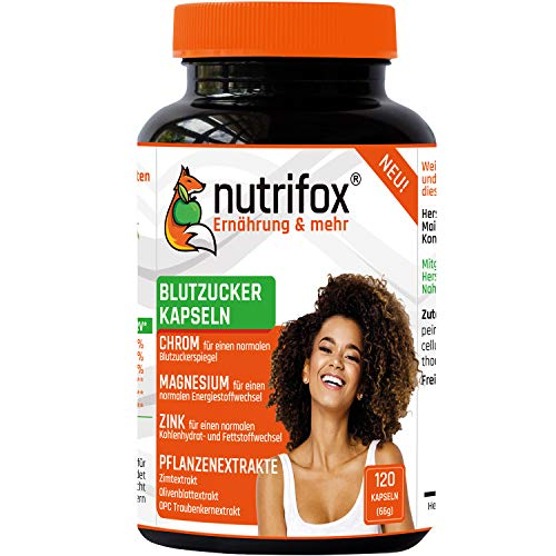 NUTRIFOX 120 Blutzucker Kapseln mit Ceylon-Zimt, OPC Traubenkernextrakt, Olivenblattextrakt, Chrom, Zink, Magnesium - Premium Pflanzenextrakte plus Mikronährstoffe, vegan, OHNE Füllstoffe