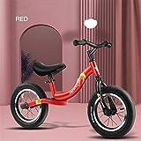 GXQZCL-1 Kinder Laufrad,Laufräder, Balance Bike, Kleinkind Strider Bike for 2-4 Jahre Alten Jungen Mädchen, 12-Zoll-kein Pedal-Push-Bike mit verstellbarem Lenker und Sitz (Color : Red)