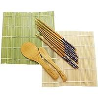 EXZACT EX-SR08 Juego de 8 piezas para Preparar Sushi de Bambú - 2 x Esterillas, 1 x Paleta de Arroz, 1 x Esparcidor de Arroz, 4 Pares de Palillos - Todo Natural, Hermoso Estilo Oriental (EX-SR08)