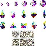 AB Rhinestones de Cristal 1788 Piezas de Espalda Plana Rhinestones de Uñas Multi-forma Rhinestones para Uñas Decoración de La Cara, joyería que hace
