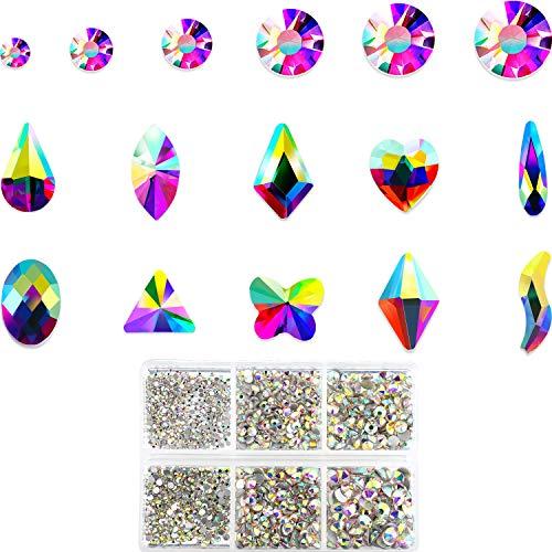Yaomiao AB Kristall Strasssteine 1788 Stücke Rhinestones mit Flachem Rücken Nagel Multi-Form Strasssteine für Nägel Gesicht Dekoration, Schmuck Herstellung