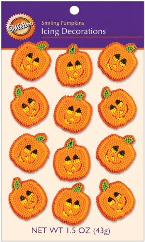 Smiling Pumpkins 12/Pkg Icing Decorations W7107-7200