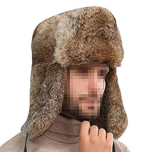 OLIS,Uomo Cappello Da Aviatore In Pelle Colbacco Inverno Ski Cappelli Del Bombardiere