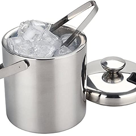 Large Double Walled Stainless Steel Insulated Ice Bucket With Tongs