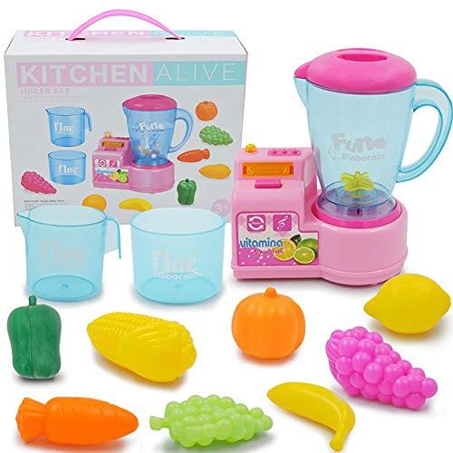 (Kinder Küche Spielzeug Set Smart Juicer Spielzeug mit Kinder Rollenspiel Kostüm Set Kunststoff Simulation Musik Küche elektrische Spielhaus für Kinder pädagogisches Spielzeug)