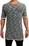Herren Oversize Designer T-Shirt Tee Longshirt basic slim-fit kurzarm lange Oversized männer ausschnitt long men mens fit sweatshirt shirts neck v rundhals grau sportive langarm hemd mode baumwolle (L, Grau)