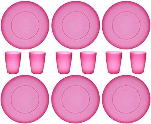 idea-station NEO 12 teilig Kunststoff-Becher 250 ml 6 Stück + Kunststoff-Teller 17 cm 6 Stück, Party-Geschirr-Set, pink, rosa, rund,...