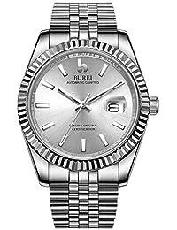 BUREI Hombres Relojes automáticos 24 Dial analógico Fecha Ventana Pantalla Cristal de Zafiro Lente con Banda de Acero Inoxidable Plateada