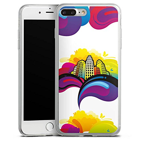Apple iPhone 8 Plus Slim Case Silikon Hülle Schutzhülle Stadt Urban Bunt Silikon Slim Case transparent