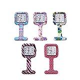 Charminer, Orologio da infermiera, impermeabile, design dolce, mini orologio, tascabile, 5 pezzi, orologio da taschino, motivo in 5colori
