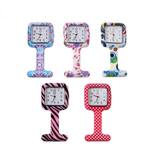 Krankenschwesteruhr,Charminer Wasserdicht Damen Schwesternuhr,süße mini 5pcs FOB FOB-Uhr Pflegeruhr Taschenuhr aus 5 Farben Mustern (Fob-mini)