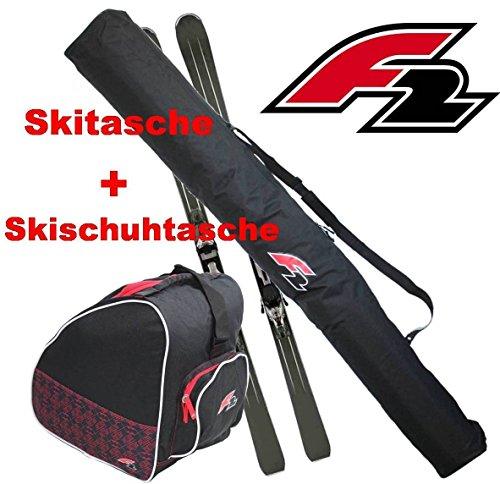 F2 Ski Taschen Kombi - Skitasche 1 Paar + Skischuhtasche FTWO Schwarz Skier Tasche Stiefeltasche Skisack yx 276+