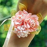 AchidistviQ schiuma rose fiori da sposa polso corpetto festa di nozze braccialetto a nastro Light Pink