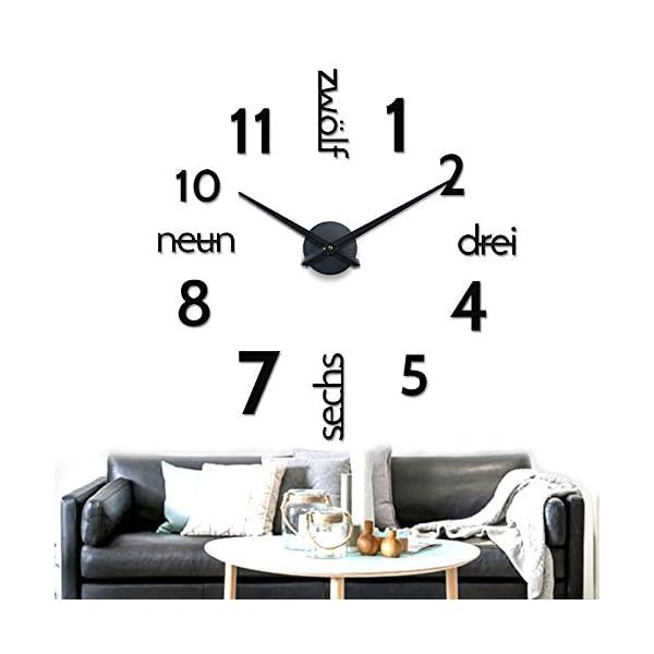 XXL 3D Schwarze Riesen Designer Wanduhr Wohnzimmer Dekoration ...