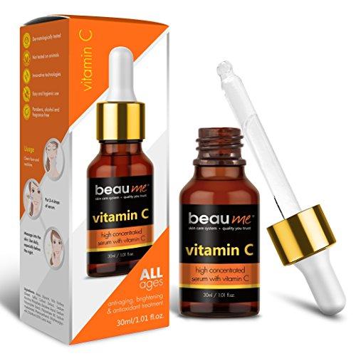 Behandlung Von Haut-aufhellende Creme (BEAUME® Hochkonzentriertes Vitamin C Serum mit Hyaluronsäure und Traubenkernöl, 30ml - Verjüngende, Aufhellende & Antioxidative Behandlung für jedes Alter)