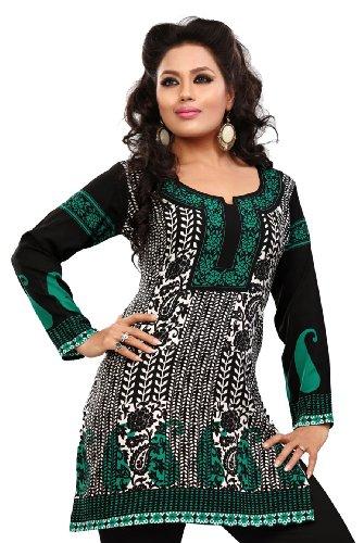 Inde Femmes Tunique Kurti Imprimé Chemisier Indien Vêtements Noir-Turquoise
