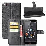 ZTE/Nubia M2 Lite Handyhülle Book Case ZTE/Nubia M2 Lite Hülle Klapphülle Tasche im Retro Wallet Design mit Praktischer Aufstellfunktion - Etui Schwarz