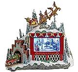 dekojohnson 679703 Spieluhr für Weihnachten mit Musik Beleuchtete Winterlandschaft 22 cm