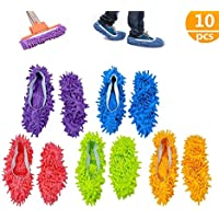 BASON Zapatillas mopa,5 Pairs Multifunction Microfiber Dust Mop Shoes Slippers Cleaning For Home, 5Colors