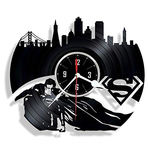 HMGift Wanduhr aus Vinyl, Superman-Motiv, tolles Geschenk für Geburtstag, Jahrestag oder andere Anlässe, schöne Heimdekoration, einzigartiges Design, aus Vinyl-Schallplatten