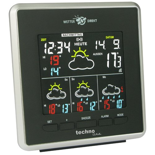Technoline WD 4026 Wetterdirekt Wetterstation  mit Innen- und Außentemperaturanzeige sowie Wettervorhersage für 4 Tage