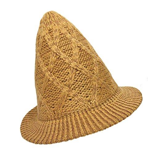 Sitong femmes mode tricotage laine capuchon tour du cap soleil chapeau Jaune