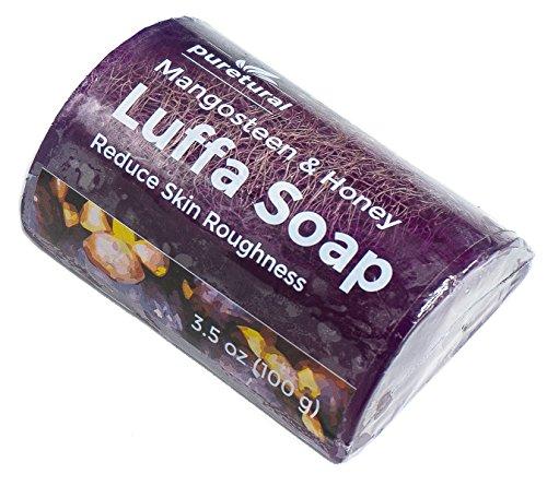Puretural Luffa-Seife, Peeling zum Reinigen von Schmutz, dunklen Flecken, Peeling-Seife für Haut, aufhellend mit natürlichem Mangostan und Honig, Original -