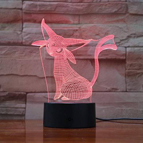 Pokemon Go Espeon Figur LED Kindernachtlichter Farbdekoration Weihnachtsgeschenke 3D Lichter Eevee Family (Heels Mint-farbigen)