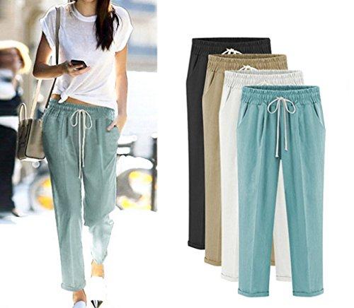 Bigood Femme Lâche Pantalon Souple Élastique Harlan en Polyester Casual Azuré