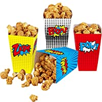 yizeda 24 Pcs Superhero Party Popcorn Boxes, Striped Paper Popcorn Boxes Cardboard Candy Container for Birthday Theater Themed Parties Movie Nights Carnivals