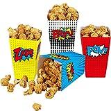 yizeda Scatole di Popcorn da 24 Pezzi per i favori di Supereroi, scatole di Popcorn di Carta a Strisce Scatole di Caramelle di Cartone per Le Feste a Tema del teatro di Compleanno