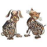 Solarzellenbetriebene Katze und Hund Dekorative Silhouetten aus Metall für den Garten LED-Licht