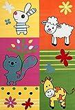 VIMODA Kinder Zimmer Teppich Kuh Scharf Eichhoernchen Hase Bunte Farben Bauernhof Tiermotiv Kinderteppich Schadstoff Geprüft 160x230 cm