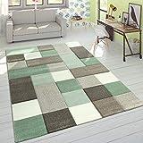 Paco Home Designer Teppich Modern Konturenschnitt Moderne Pastellfarben Kariert Beige Grün, Grösse:160x230 cm