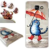 Coque Samsung Galaxy A5 2016, LovelyC (Chat et parapluie) PC Plastique Housse Etui hard Case Cover pour Samsung Galaxy A5 2016 (5.2 inches) +1x Bouchons de poussière