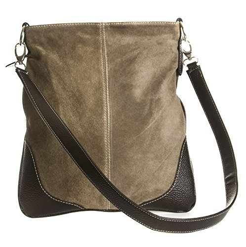 Big Handbag Shop - Borsa a tracolla da donna, stile messenger, in vera pelle scamosciata italiana, sintetica, con finte cuciture Deep Taupe (BR517)