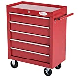 durhand 5 Drawer Roller Tool Cabinet Storage Box Workshop Chest Garage Wheeling Trolley