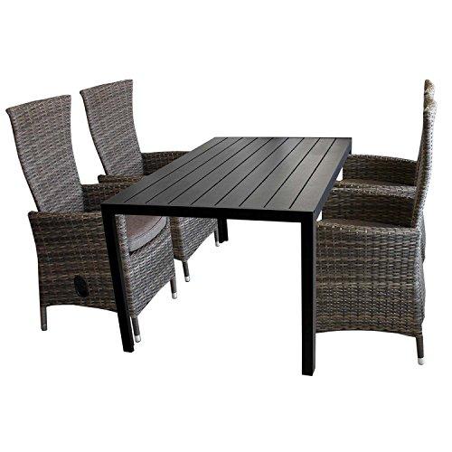 5tlg. Gartengarnitur Aluminium Gartentisch mit schwarzer Polywood Tischplatte 150x90cm + 4x verstellbare Poly Rattansessel braun-meliert Sitzgruppe Sitzgarnitur Balkonmöbel Terrassenmöbel Set